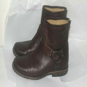 FRYE Phillip Harness  Leather Moto Ankle Boots 6.5
